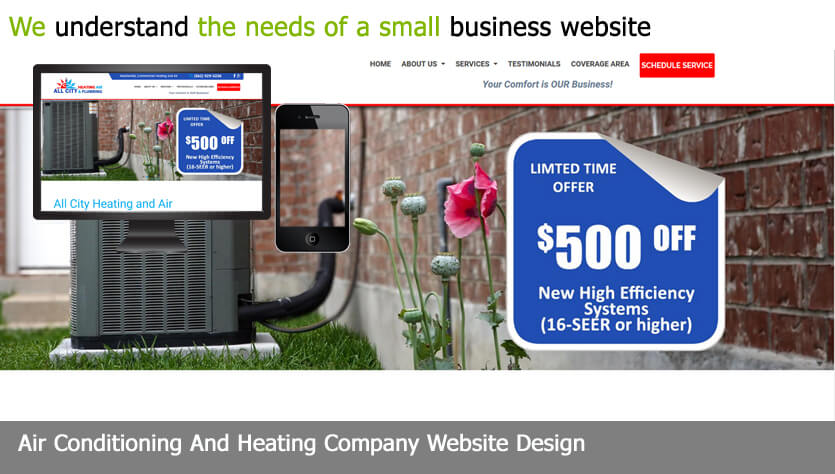 air conditioning and heating company web design template site builder