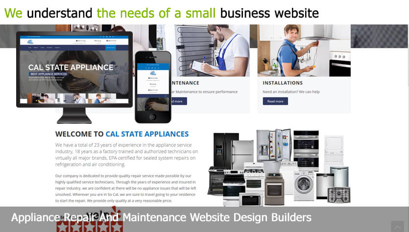 appliance repair and maintenance web design template site builder