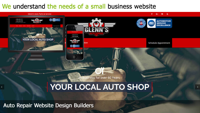 auto repair web design template site builder
