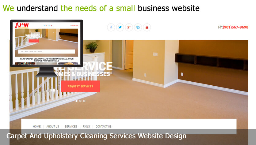carpet and upholstery cleaning services web design template site builder