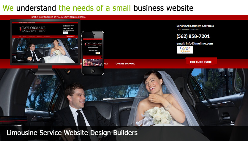 limousine service web design template site builder