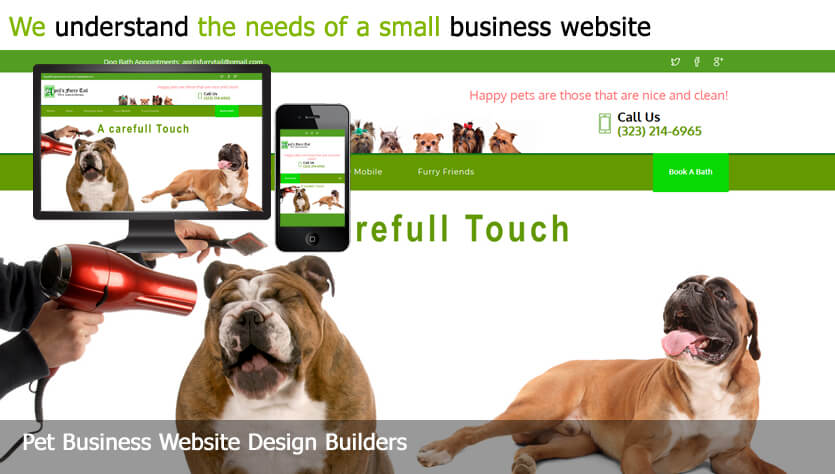 pet business web design template site builder