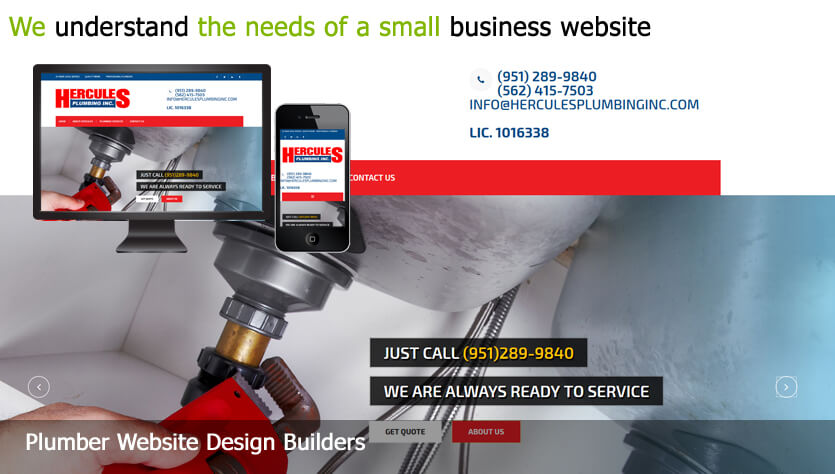 plumber web design template site builder
